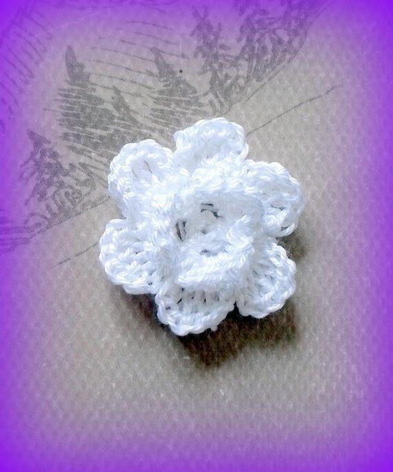 1 Fleur Blanche En Relief A Coudre Ou Customisation Fait Main