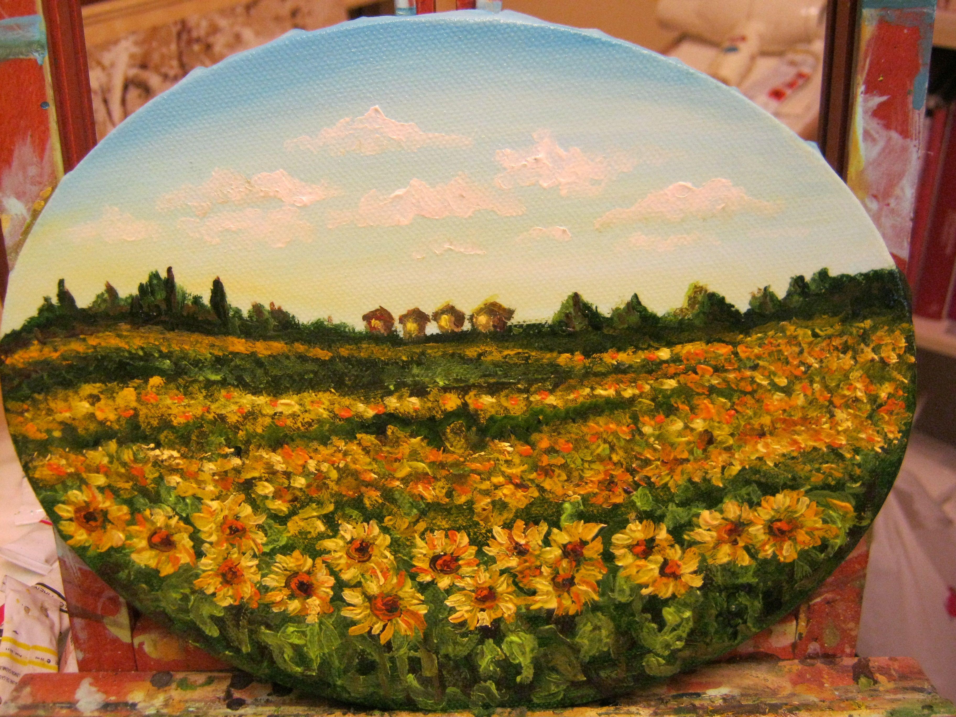 Paesaggio toscano con girasoli olio su tela | Arte e Restauro al ...