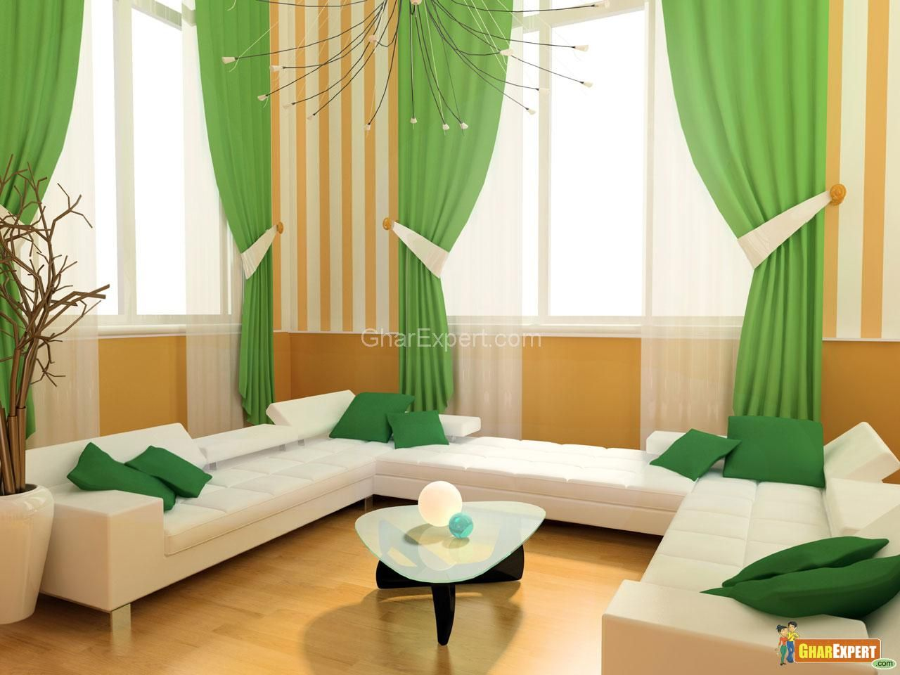 Curtains Design For Living Room Impressive Greencurtaindesignsforlivingroomwindow  Curtains For Living Inspiration Design