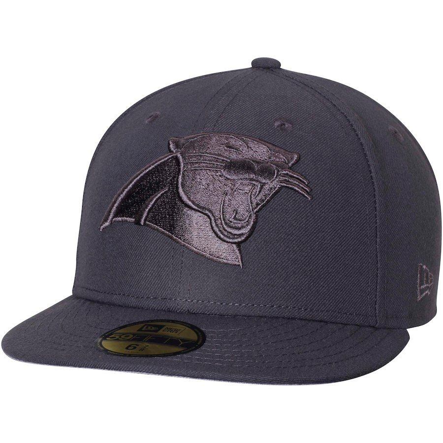 2a493535904 Men s Carolina Panthers New Era Graphite Tonal League Basic 59FIFTY Fitted  Hat