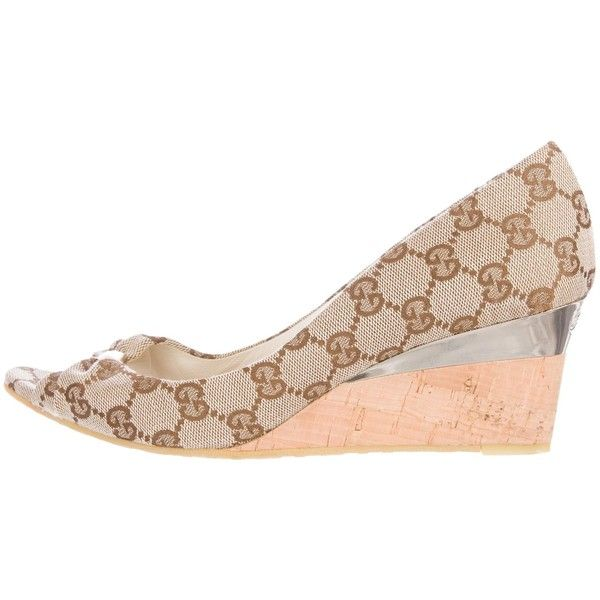 21f86e39ba1 Pre-owned Gucci GG Canvas Peep-Toe Wedges ( 195) ❤ liked on Polyvore  featuring shoes