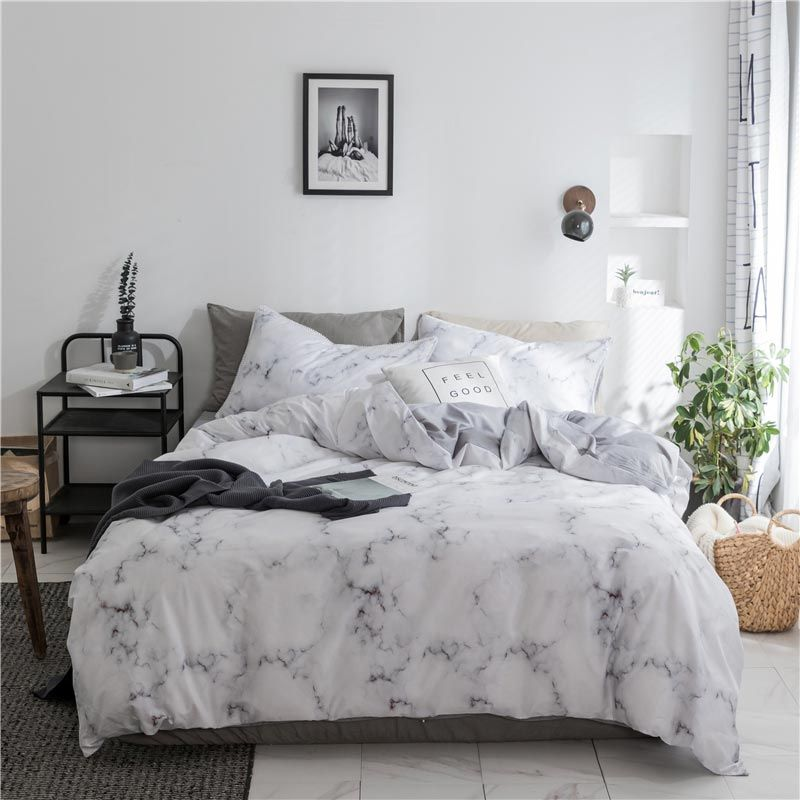 Contempporary Simple Bedding Set Rock Texture Printing Bedclothes