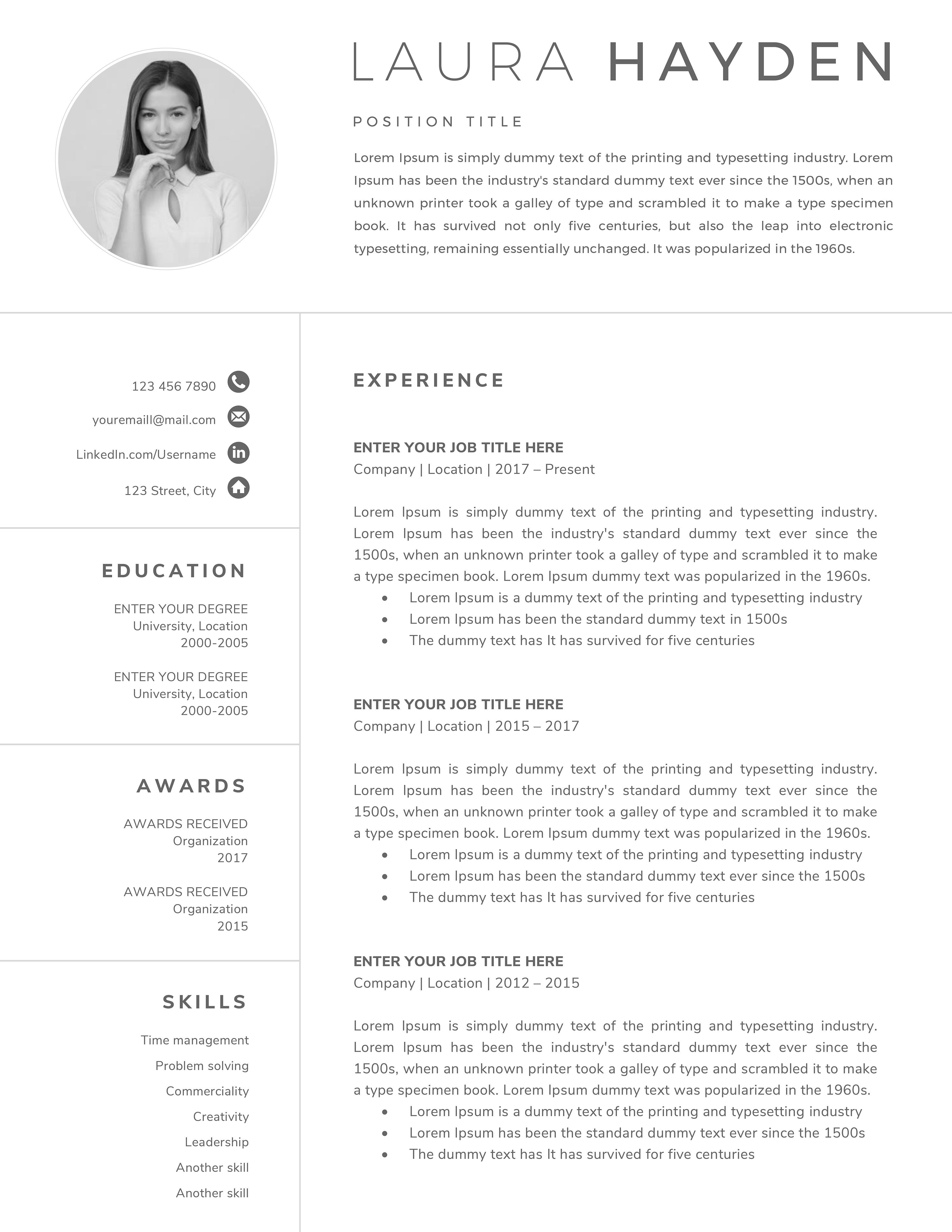 Resume Template Cv Resume Template Word Resume Template Professional Resume Template