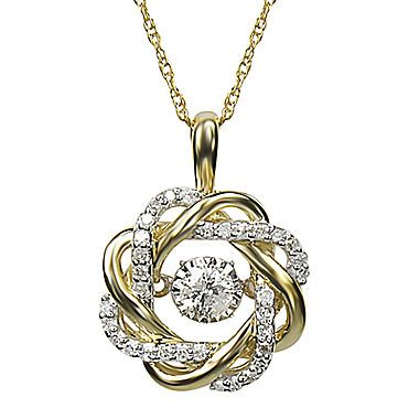 Fine Jewelry Love in Motion 1/4 CT. T.W. Diamond 10K Yellow Gold Round Pendant Necklace m80nJiuE