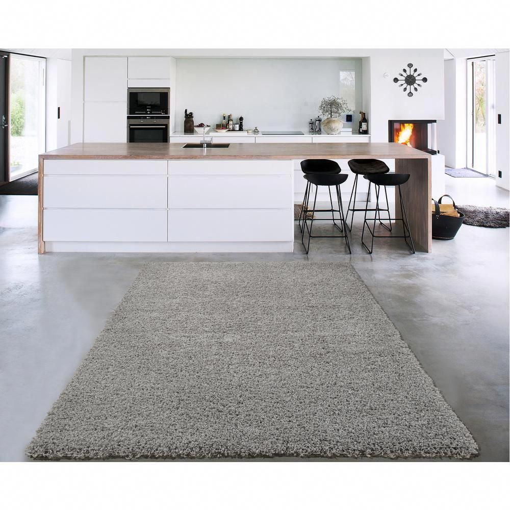 Sweet Home Stores Cozy Shag Collection Grey 5 Ft X 7 Ft Indoor Area Rug Cozy2763 5x7 The Home Depot At Home Store Indoor Area Rugs Sweet Home