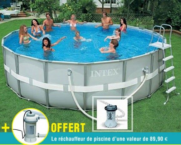 offre piscine tubulaire grise metal frame 3.66 x 1.22m +