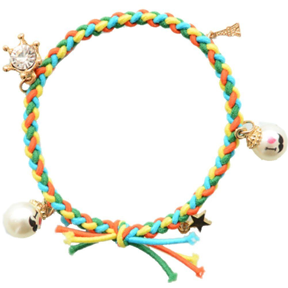 Set of woven hair rope rubber band ponytail holders hairpin