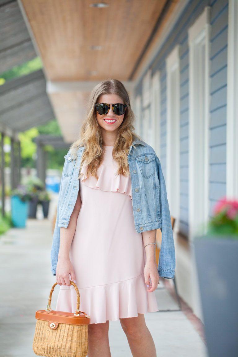 2eea9b00bf163 Sleeveless Asymmetrical Ruffle Dress styled on Louella Reese   Light Pink  Dress, Summer Wedding Guest Dress, Structured Basket Bag