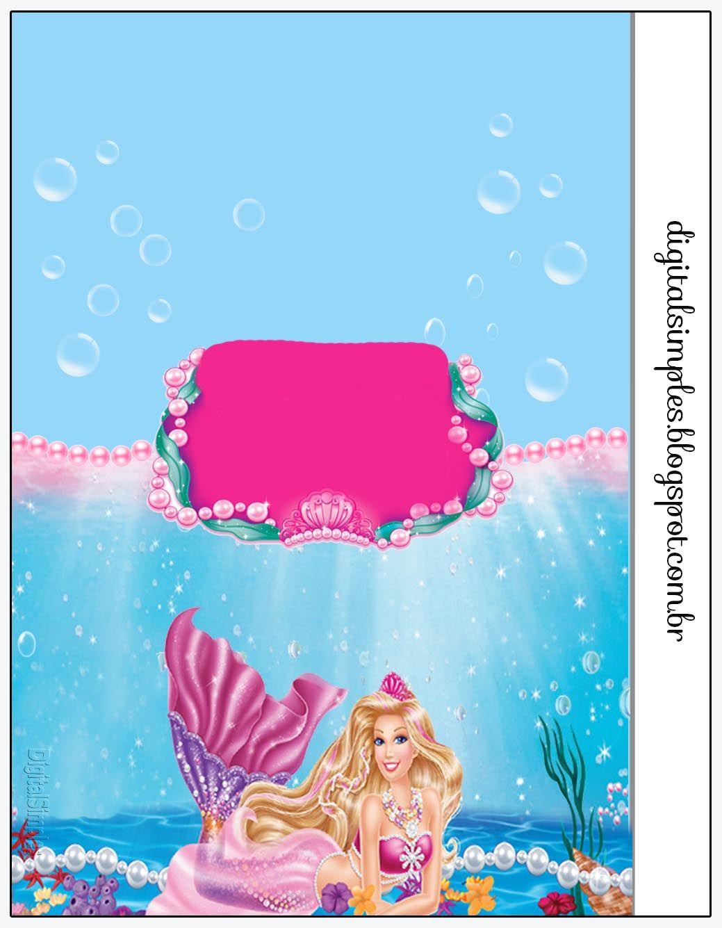 Kit Personalizado Tema Barbie Sereia Das Perolas Convites Digitais Simples Barbie Sereia Barbie Festa Barbie