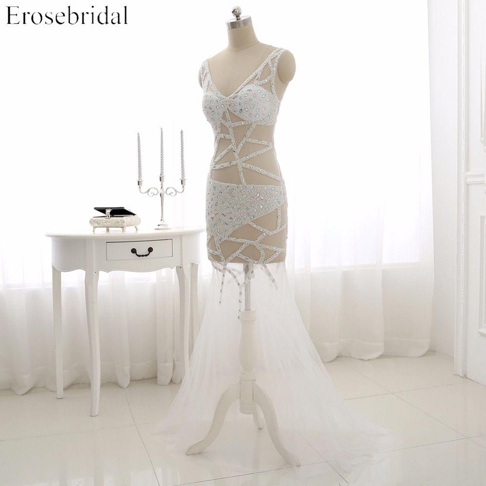 New design v neck mermaid tulle prom dress beading tank sleeveless