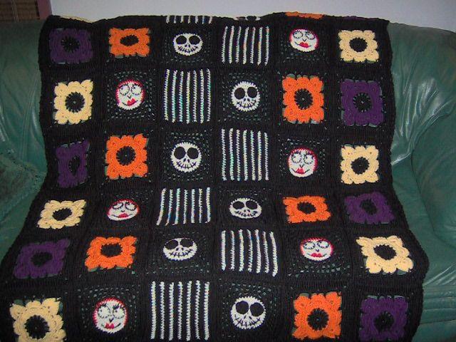 Nightmare Before Christmas Crochet Blanket.Nightmare Before Christmas Blanket Crocheting Halloween