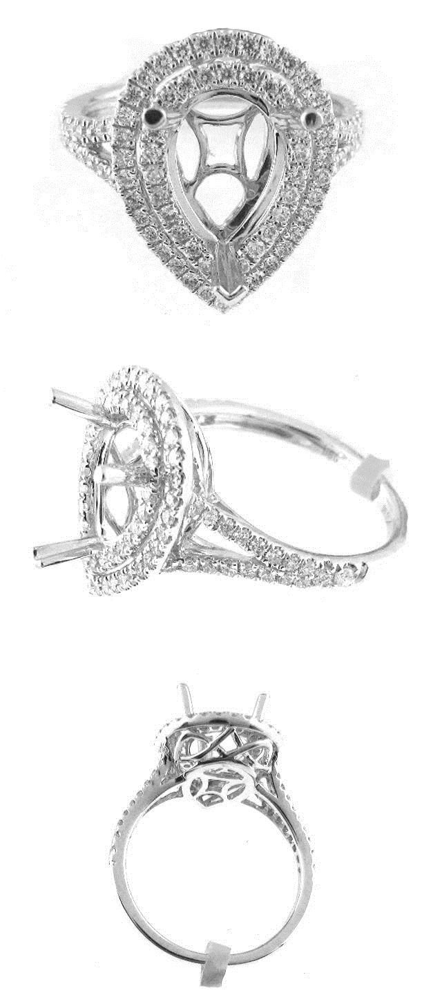 Settings Only 164309 062Ctw Pear Shaped Double Halo Diamond