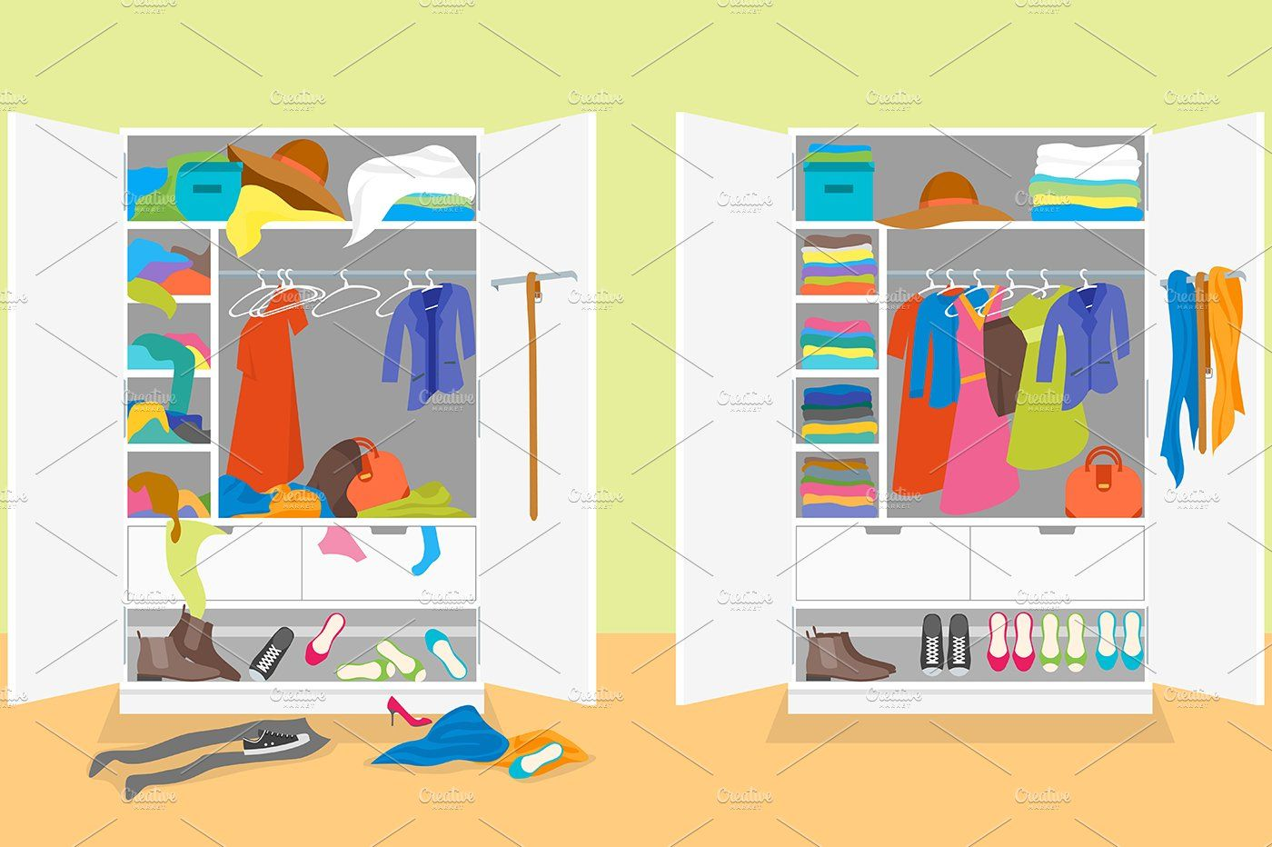 Untidy and After Tidy Wardrobe Ad , Ad, Clothing