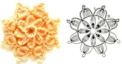 World crochet: Crocheted flower 9