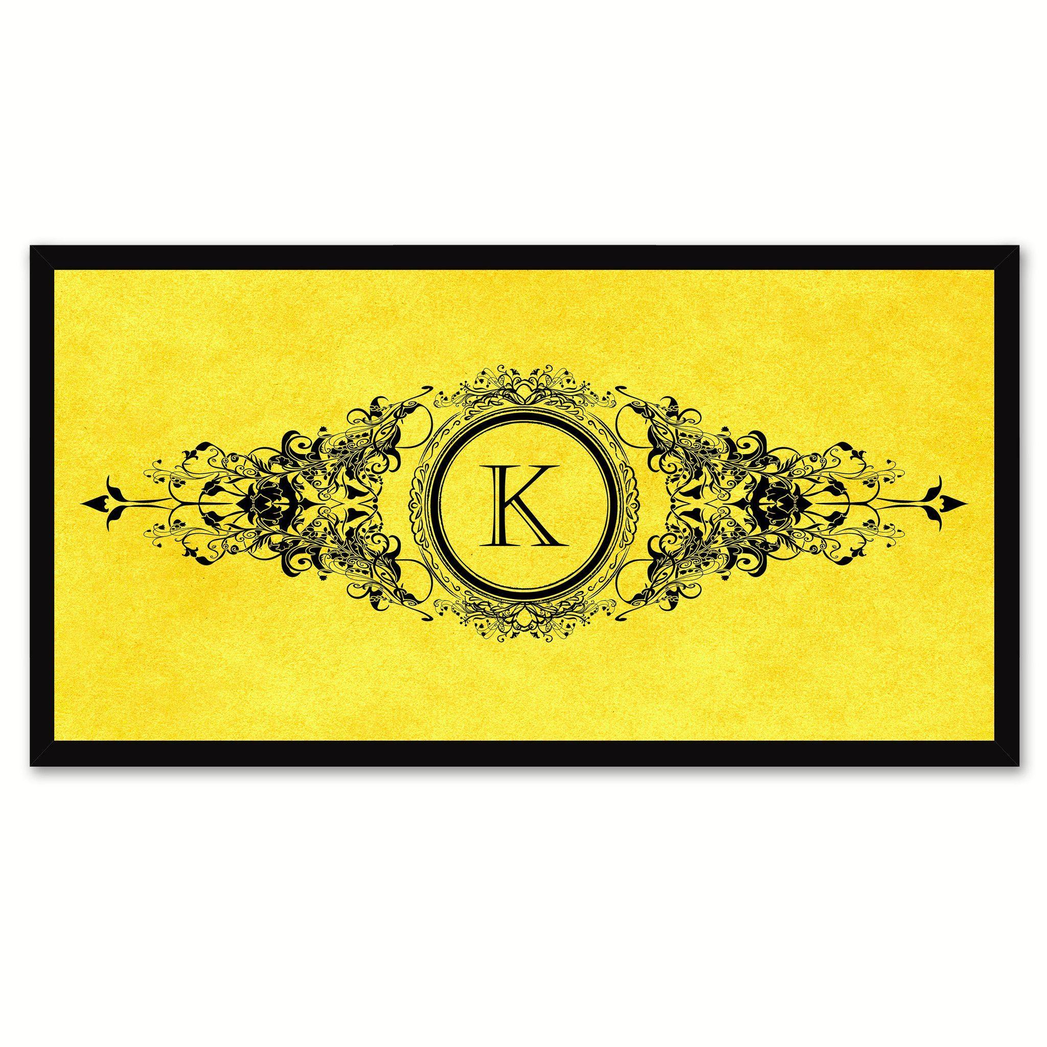 Alphabet Letter K Yellow Canvas Print, Black Custom Frame | Alphabet ...