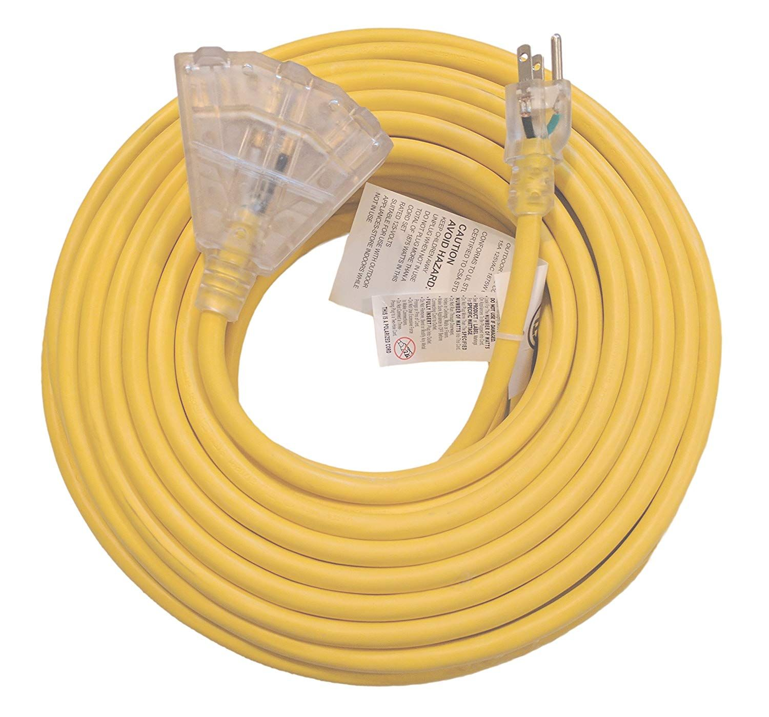 100 ft 12 gauge heavy duty indoor outdoor sjtw lighted triple outlet extension cord by watts wire yellow 100 foot 12 awg copper lighted multi outlet  [ 1500 x 1398 Pixel ]