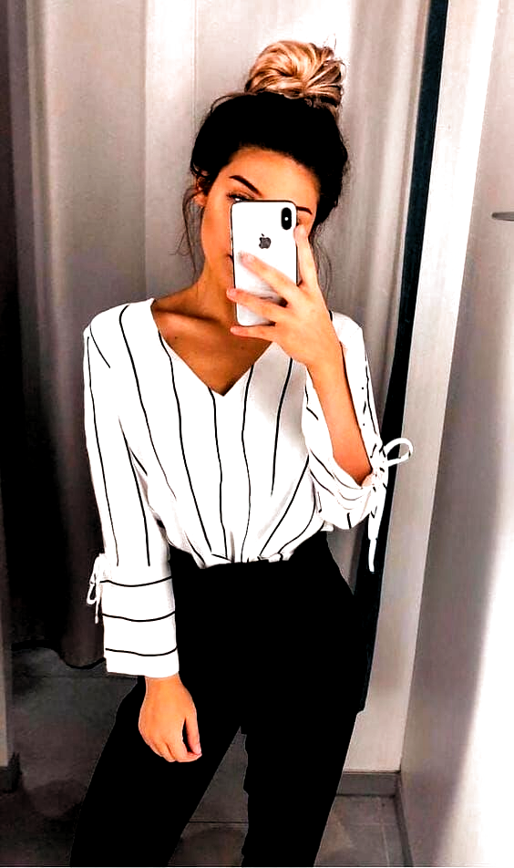 Business Casual Outfits For Work In The Office: White Stripe Shirt With Black Tr...
