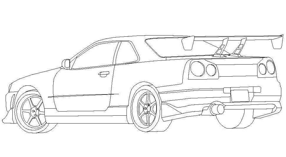 free coloring pages of nissan skyline r34