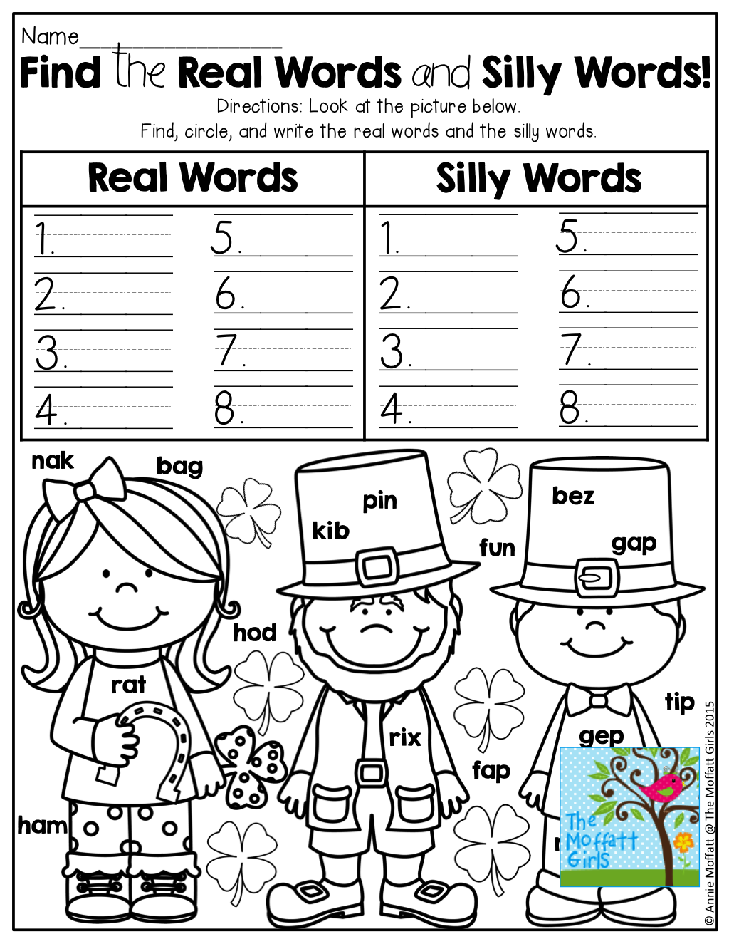 Find And Write Real Words Verses Silly Words Tons Of Fun Printables