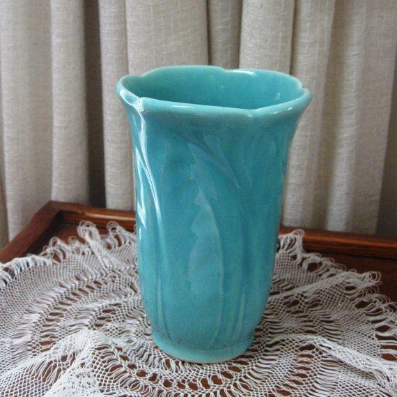 Vintage Art Deco Vase Usa Pottery Aqua Embossed Leaves 1940s
