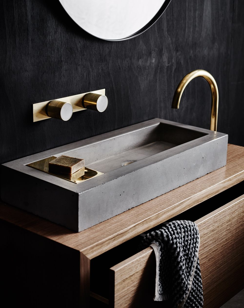 Zoe Concrete Basin With Sealed Brass Soap Plate And Pop Up Waste. Mabel  Marble And