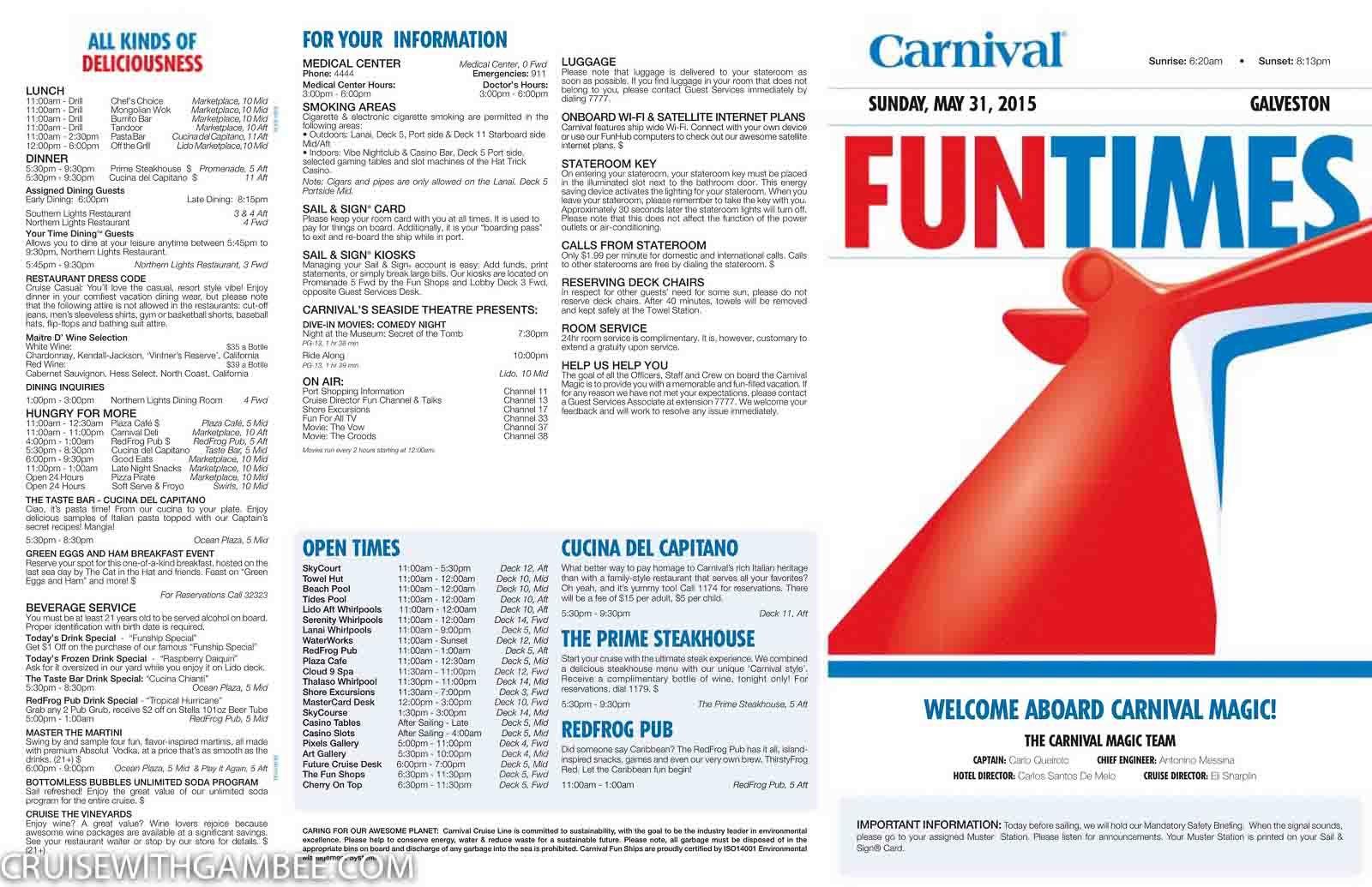 Carnival Magic Funtimes Daily Itinerary Carnival Magic Carnival