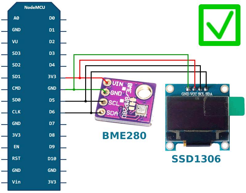 ESP8266 BME280 SSD1306 circuit | Arduino