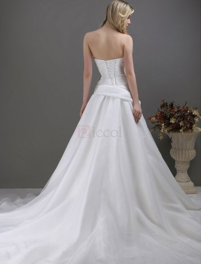 ❀ A-Line Sweetheart Sleeveless Organza Wedding Dresses   Riccol ❤