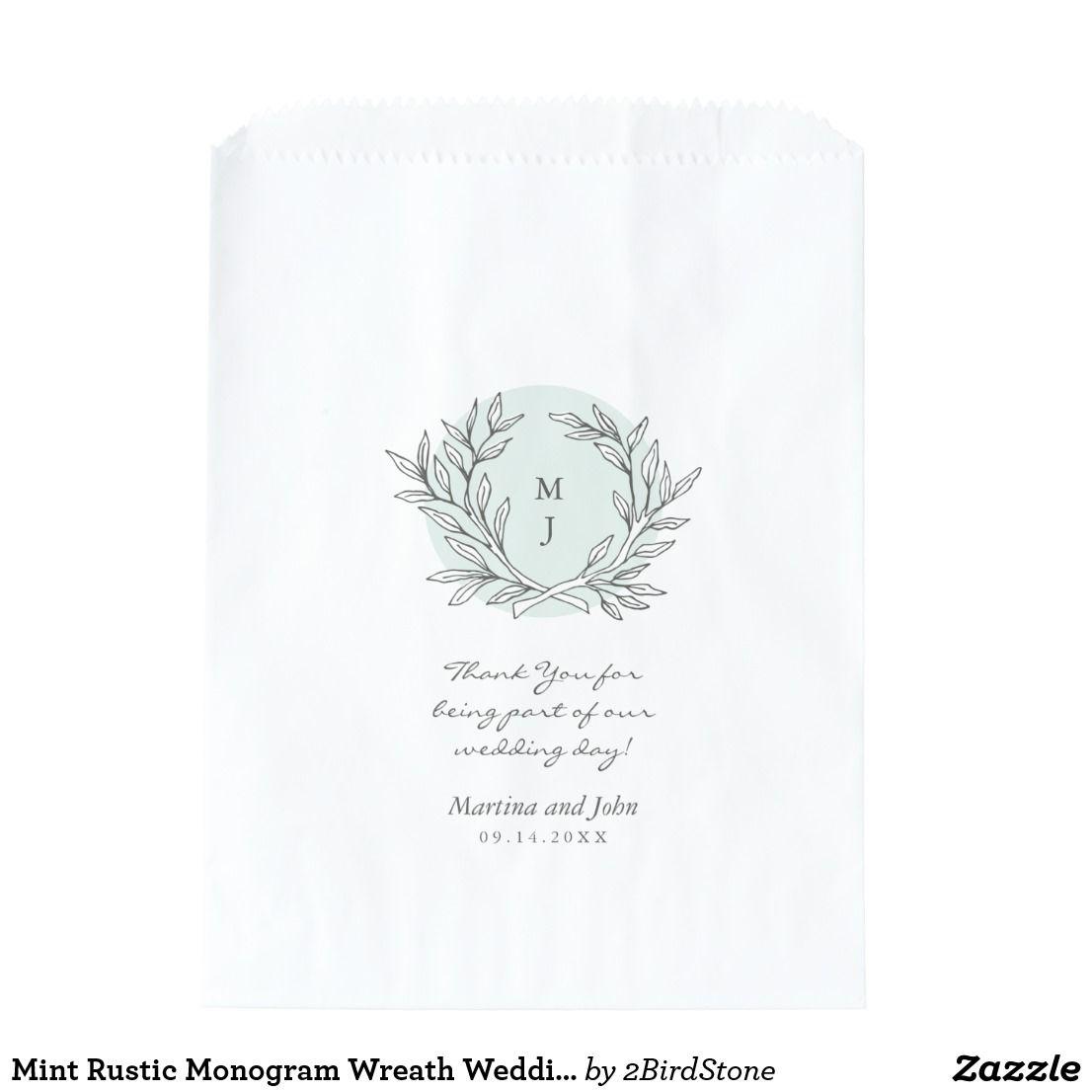 Mint Rustic Monogram Wreath Wedding Favor Bag | Wedding favor bags ...