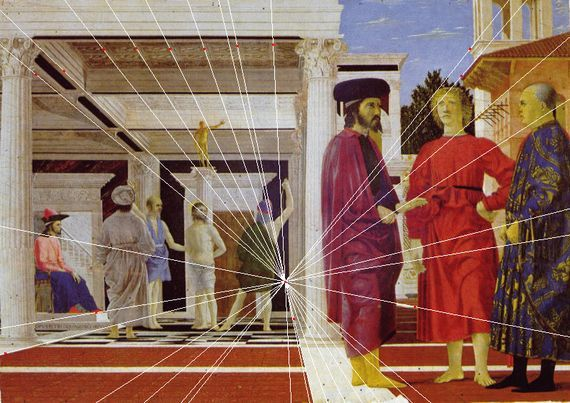 Piero della Francesca, Flagellazione, Studio prospettico