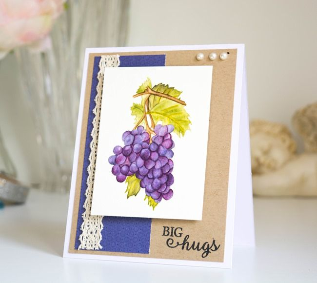 Inspired by Stamping, Joanna Munster, Sun-Ripened Grapes, watercolor card, grapes card, thinking of you card (3)
