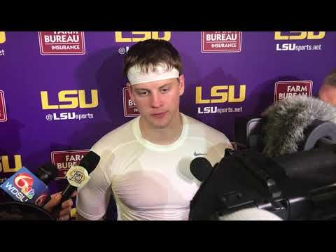 LSU quarterback Joe Burrow discusses sliding, his hail
