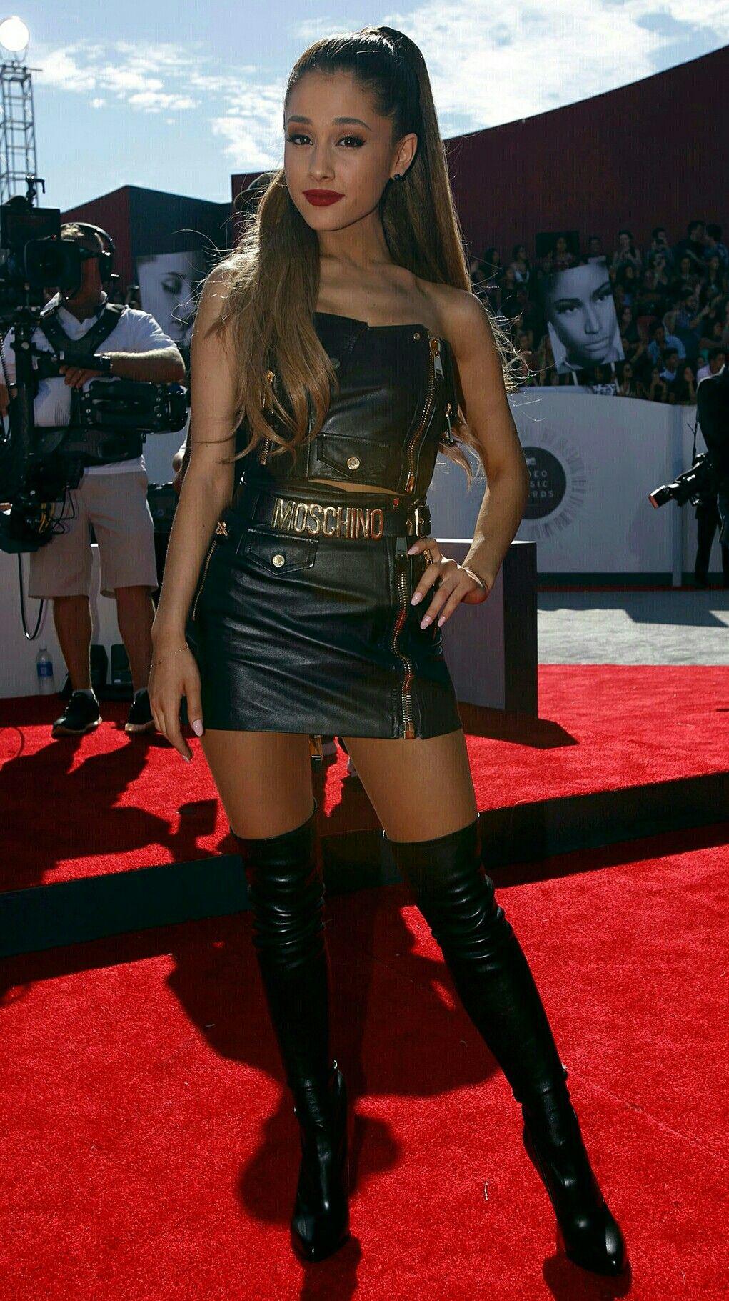 dcca3c8e350 Ariana Grande Moschino leather skirt thigh boots Slay🔥🔥