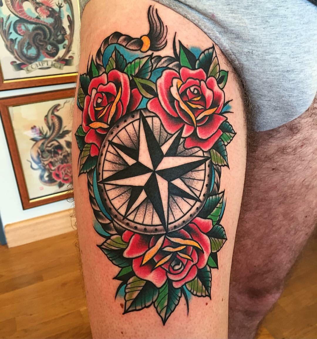 Pin by Joey Diamante on Tats Traditional compass tattoo