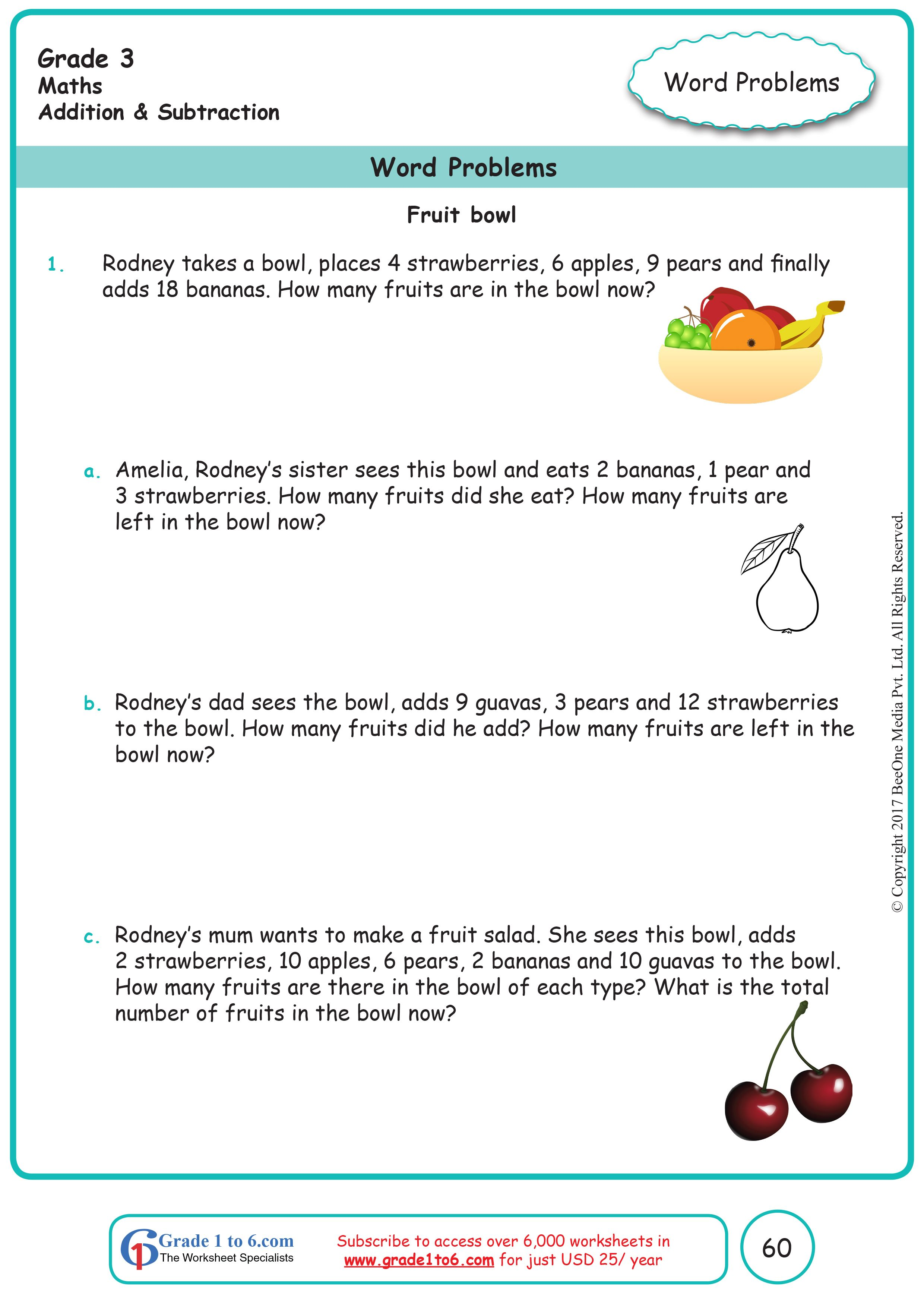 Addition Amp Subtraction Word Problems Grade 3 Math