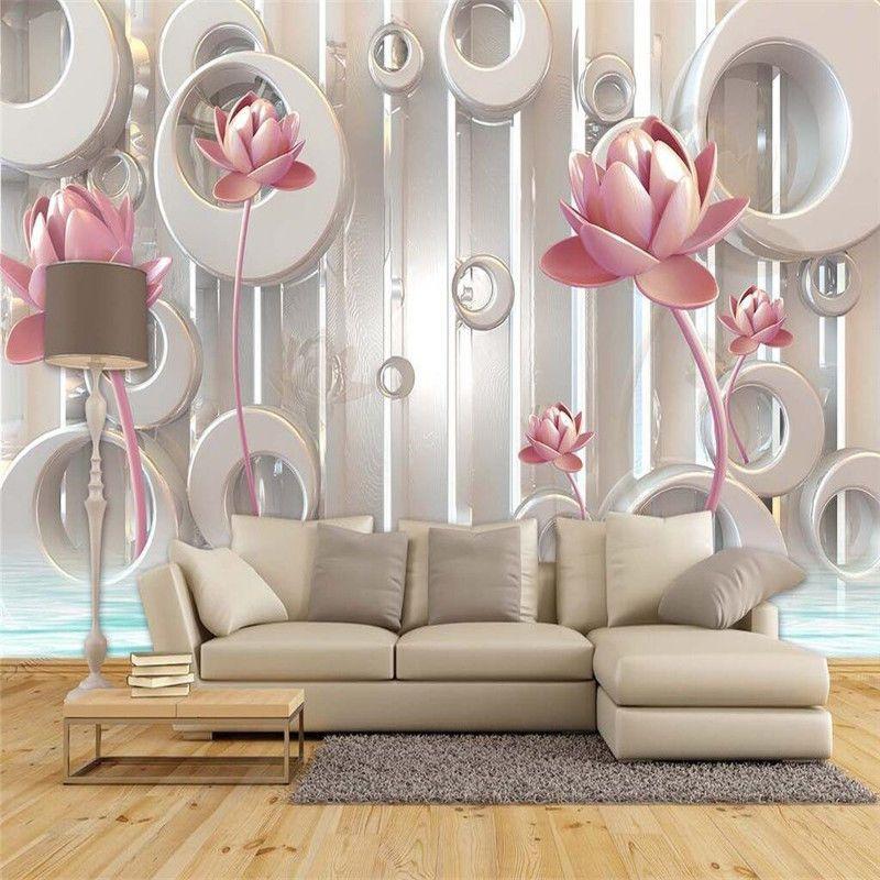 3D Wallpaper Bedroom Mural Modern Living Room TV Flowers Background Wall  #New Part 53