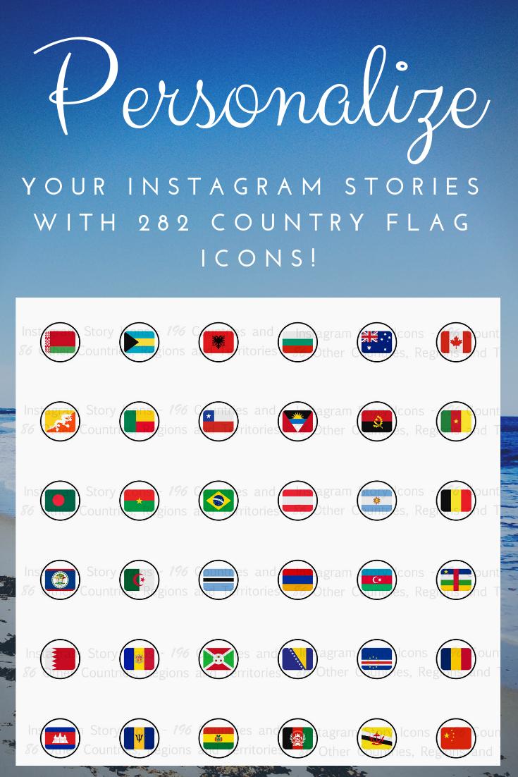 282 Country Region Flag Icons 196 Countries Bonus 86 Regions Islands Territories Instagram Story Highlights Travel Theme In 2020 Flag Icon Country Flags Icons Instagram Story