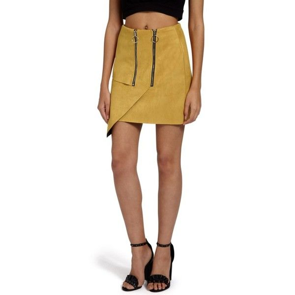 a825cd3c7a Women's Missguided Double Zip Faux Suede Miniskirt ($62) ❤ liked on  Polyvore featuring skirts, mini skirts, mustard, faux-suede skirts, mustard  mini skirt, ...