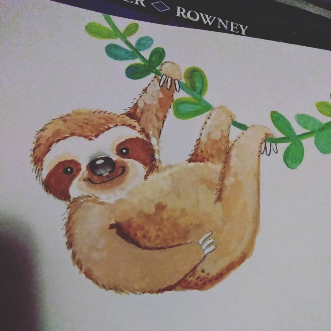 Raining Like Mad Outside Happy Acrylic Painting To Be Found Inside Love The Rain Cuteanima Animal Paintings Acrylic Mermaid Paintings Acrylic Sloth Drawing