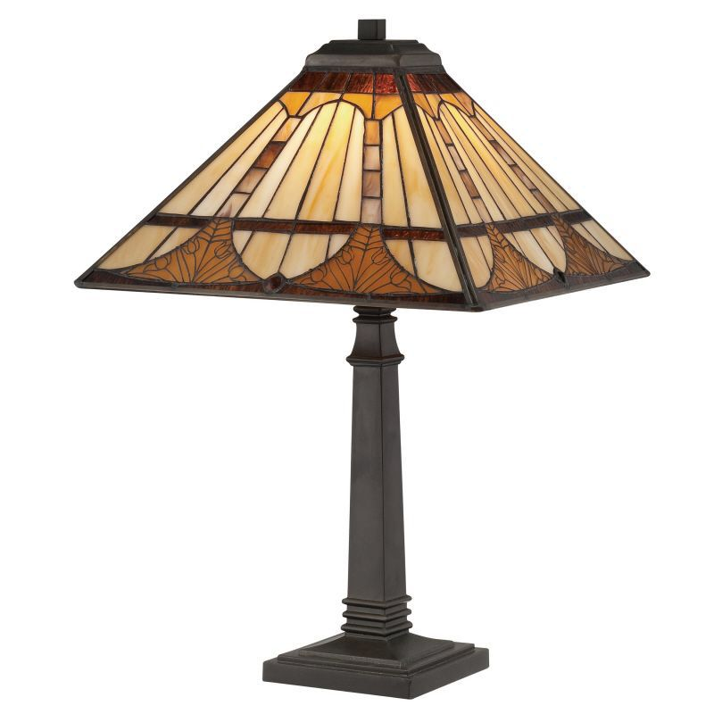 Timber Tiffany 21 H Table Lamp With Square Shade