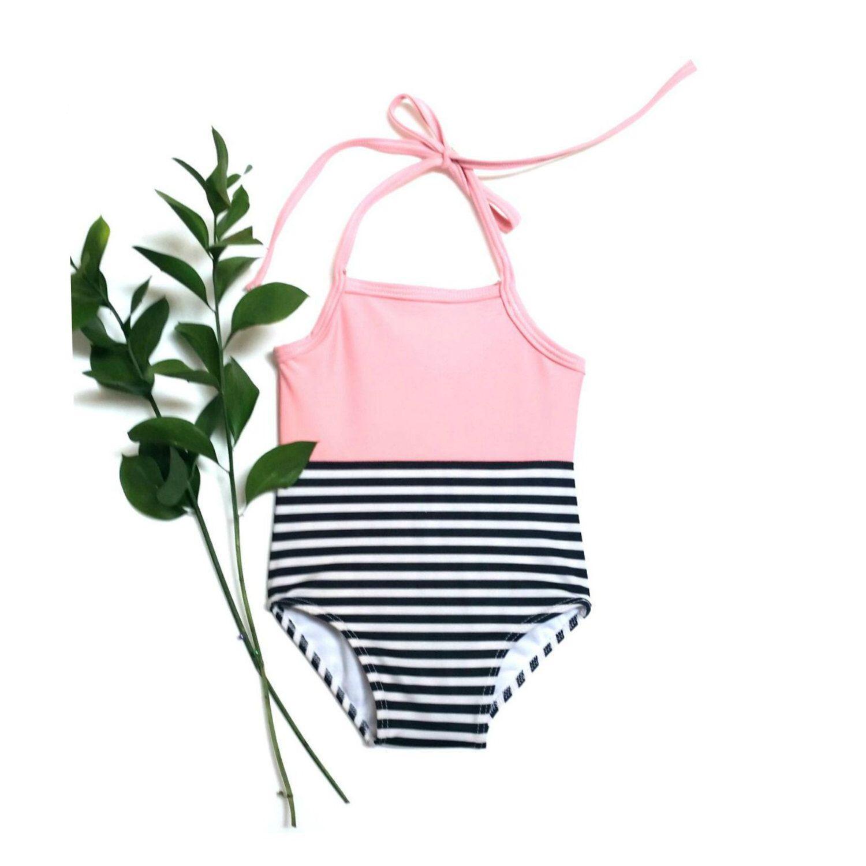 55914c1448fda Black and Pink Infant Swimwear | Black and White Stripe Toddler Swimsuit by  retrobabyswimwear on Etsy