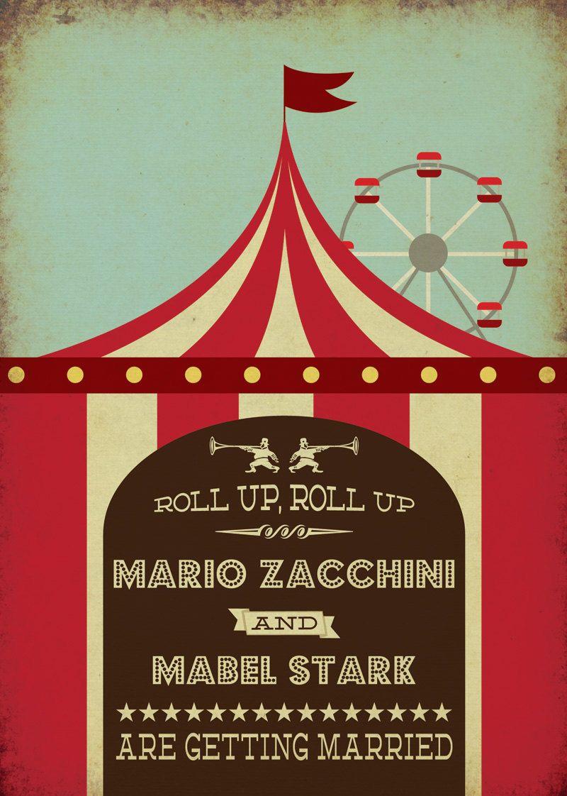 Circus Funfair Themed Vintage Retro Style Wedding Invitation   Big ...
