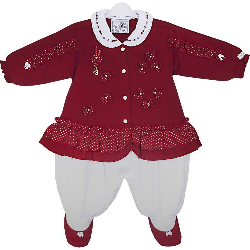 Macacão Bebê Menina de Bolinhas Lara Vermelho - Beth Bebê    764 Kids  27961327967