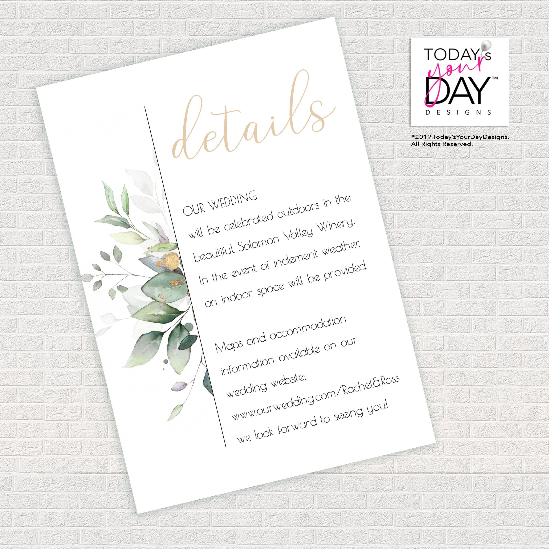 Watercolor Greenery Gold Accents Wedding Details Card Diy Etsy Wedding Details Card Wedding Details Wedding Website