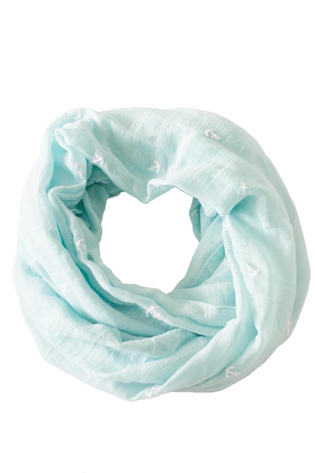 "Mint infinity scarf with raised white anchor print.    Measures: 28"" x 36"".   Anchor Infinity Scarf by Love of Fashion. Accessories - Scarves & Wraps Philadelphia, Pennsylvania"