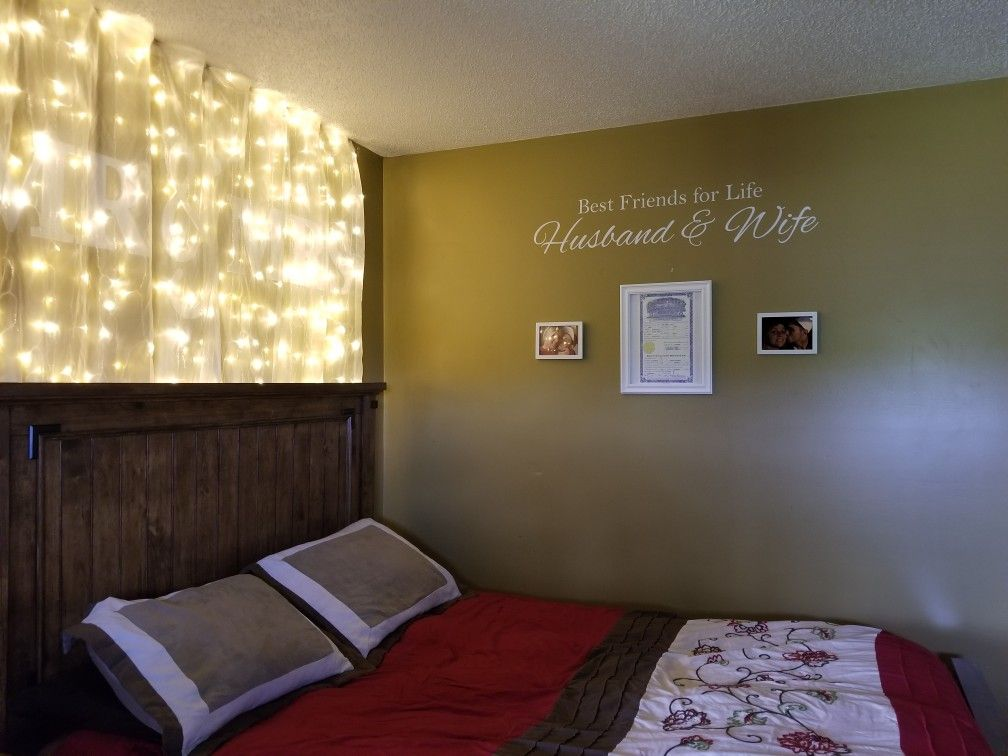 Accent Wall Newlyweds Husband And Wife Friends For Life Curtain Lights Fairy Lights Sheer Curtain Above Bed Bedroom Decor Lights Curtains Above Bed Accent Wall