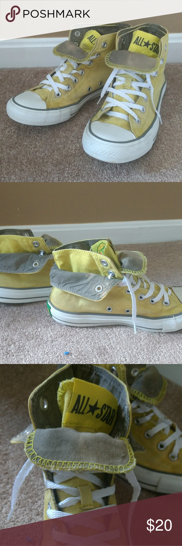 Converse Yellow Chuck Taylors Hi Tops Size 8 Size 6 Youth 8