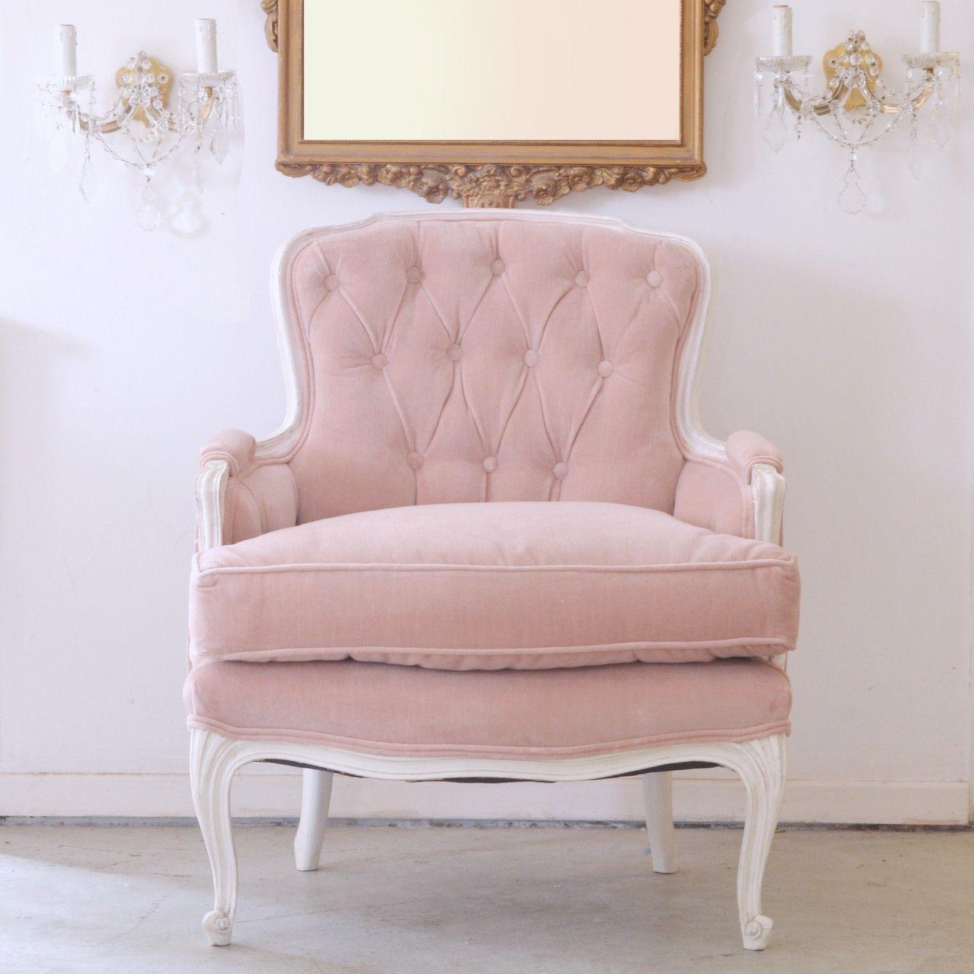 Romantic Shabby Chic Rose Velvet Tufted Chair In 2019