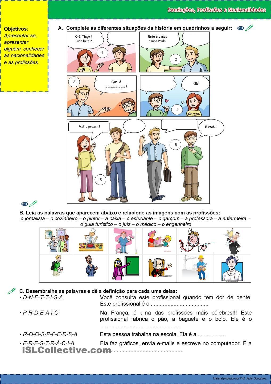 Saudações Profissões E Nacionalidades Bilingual Children Education Comics