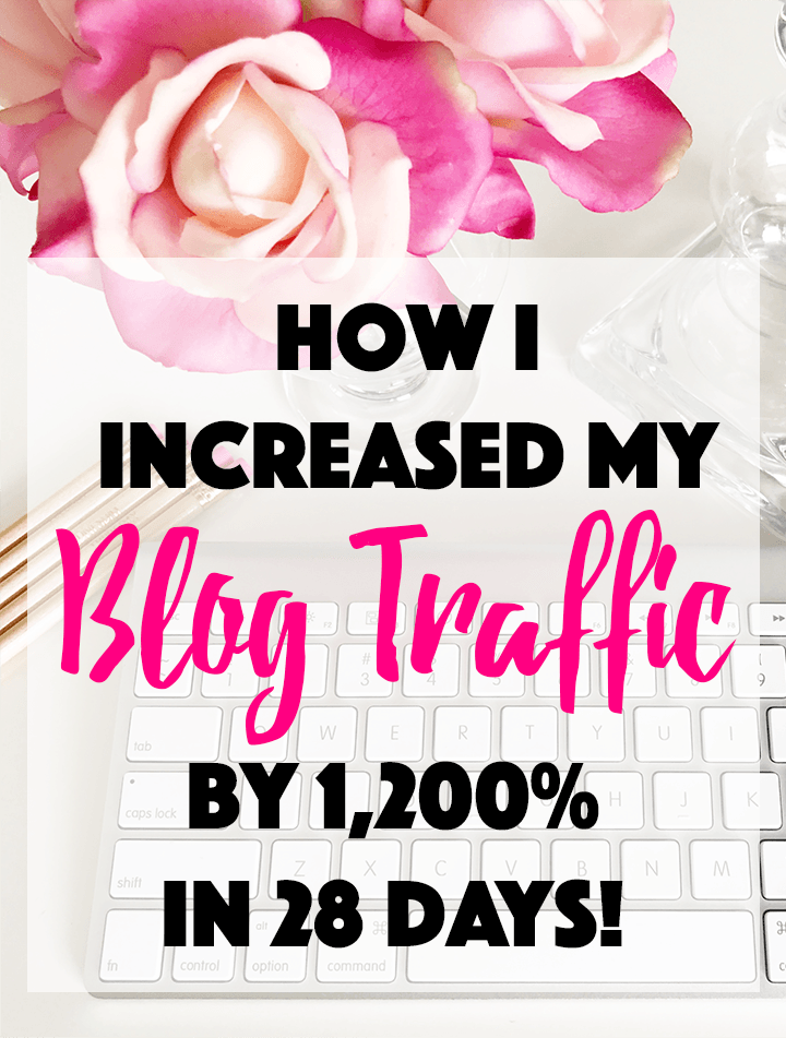 Learn how I increased my blog traffic by 1,200% in just 28 days! You can increase your blog traffic by following 10 simple steps.
